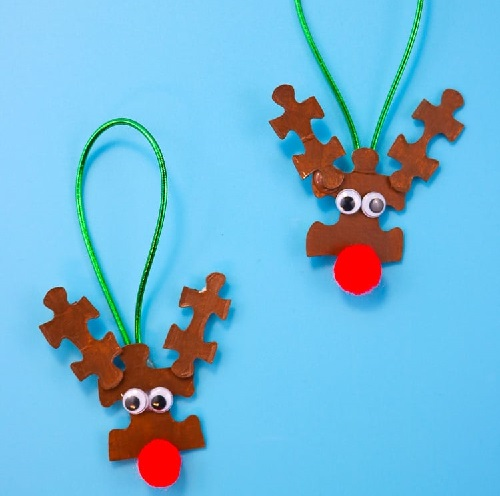 Christmas Group Craft Reindeer Puzzle Piece Ornaments